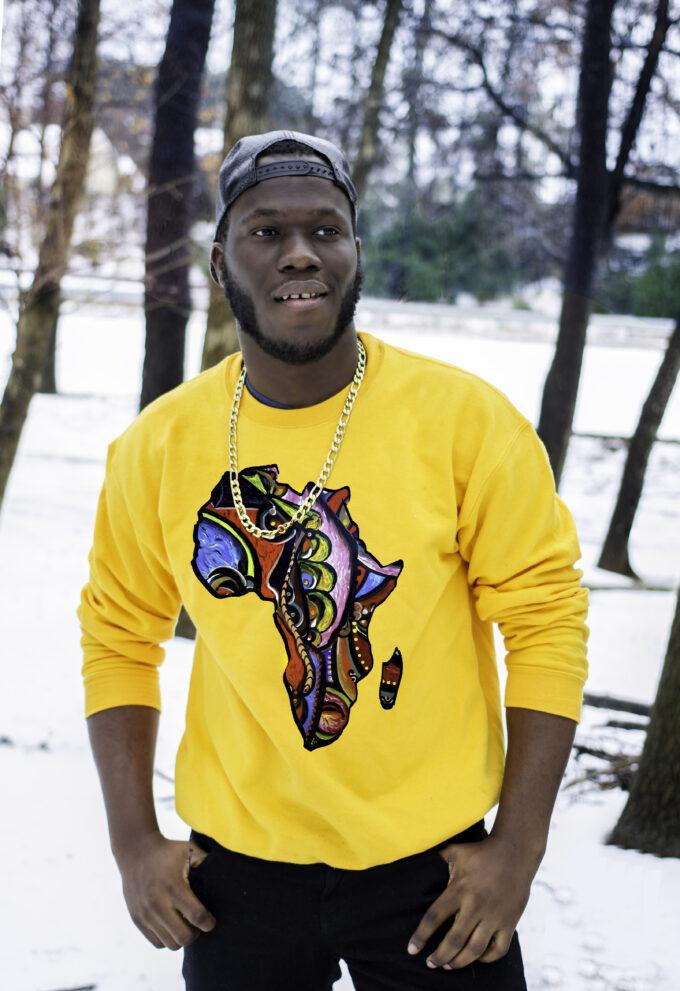 AKIA UNISEX AFRICA MAP SWEATSHIRT (YELLOW)