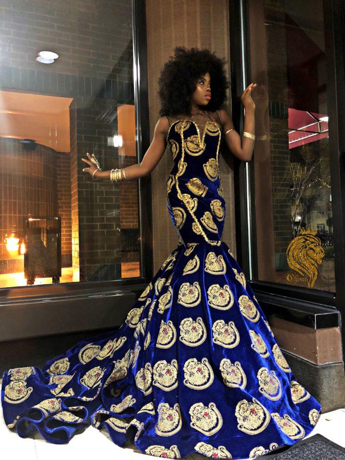 Queen Eze (Women's Mermaid Dress In Black Velvet Isiagu African Ankara Print Pattern) 2
