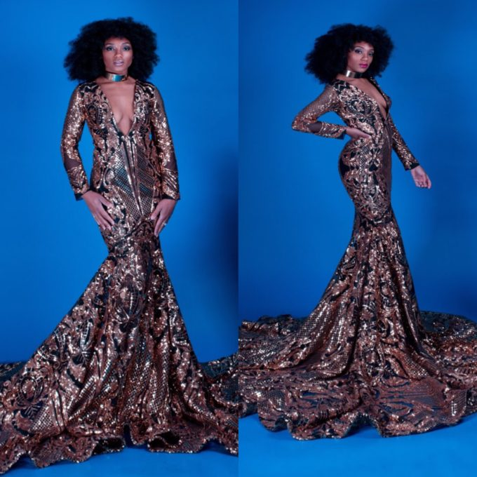 QUEEN NEFERTITI (WOMEN'S MERMAID V-NECK DRESS IN GOLD AFRICAN LACE WITH BLACK MESH)