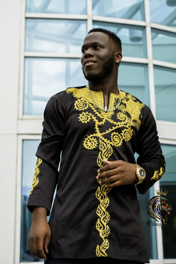 MEN'S TOP APIYO MEN'S AFRICAN PRINT TRADITIONAL SHIRT DRESS (GOLD EMBROIDERY ) BLACK
