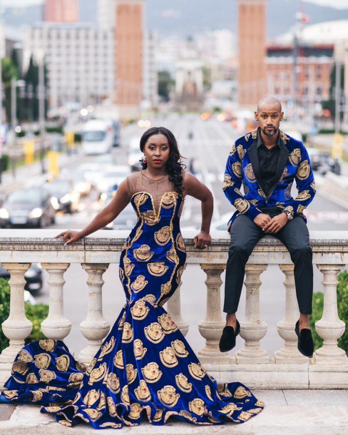 Queen Eze (Women's Mermaid Dress In Black Velvet Isiagu African Ankara Print Pattern)