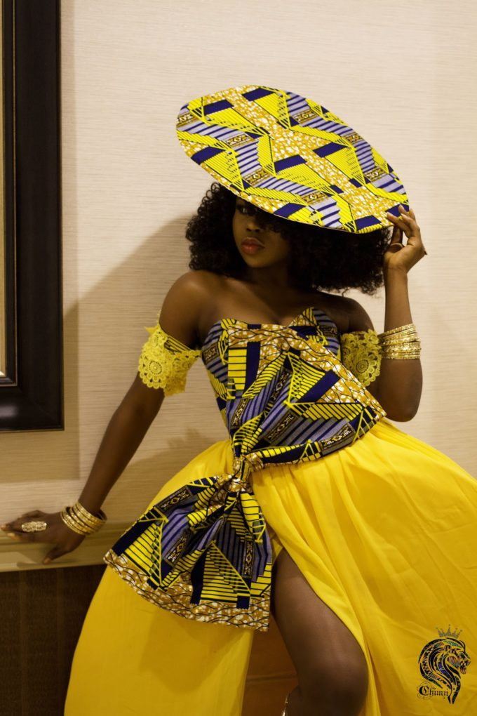 QUEEN NEKFERTITI DRESS (WOMEN'S DRESS IN YELLOW CHIFFON AND AFRICAN ANKARA PRINT PATTERN) 2