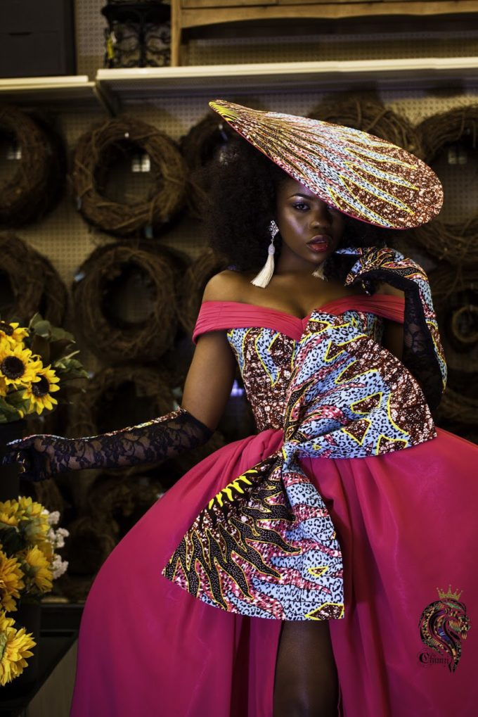 QUEEN AMINATU DRESS (WOMEN'S DRESS IN PINK CHIFFON AND AFRICAN ANKARA PRINT PATTERN)