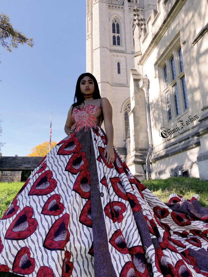 QUEEN AMINATU (WOMEN'S BALL GOWN/DRESS IN WHITE, RED HEARTS AND BROWN AFRICAN ANKARA PRINT PATTERN)