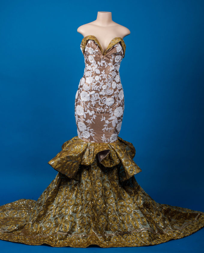 Queen Nandi (Women's Mermaid Dress In White African Lace And Gold Rosette Fabric ) 1