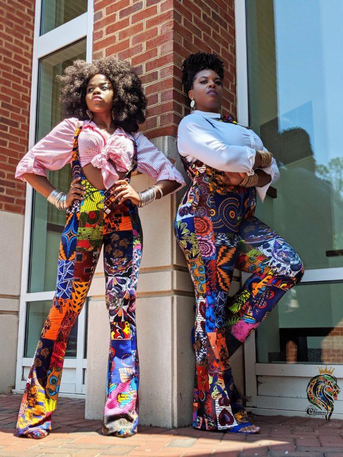 Abena Women's Stretchy African Print Jumpsuit (Patch Ankara Skirt Multi-Pattern Dashiki ) 1