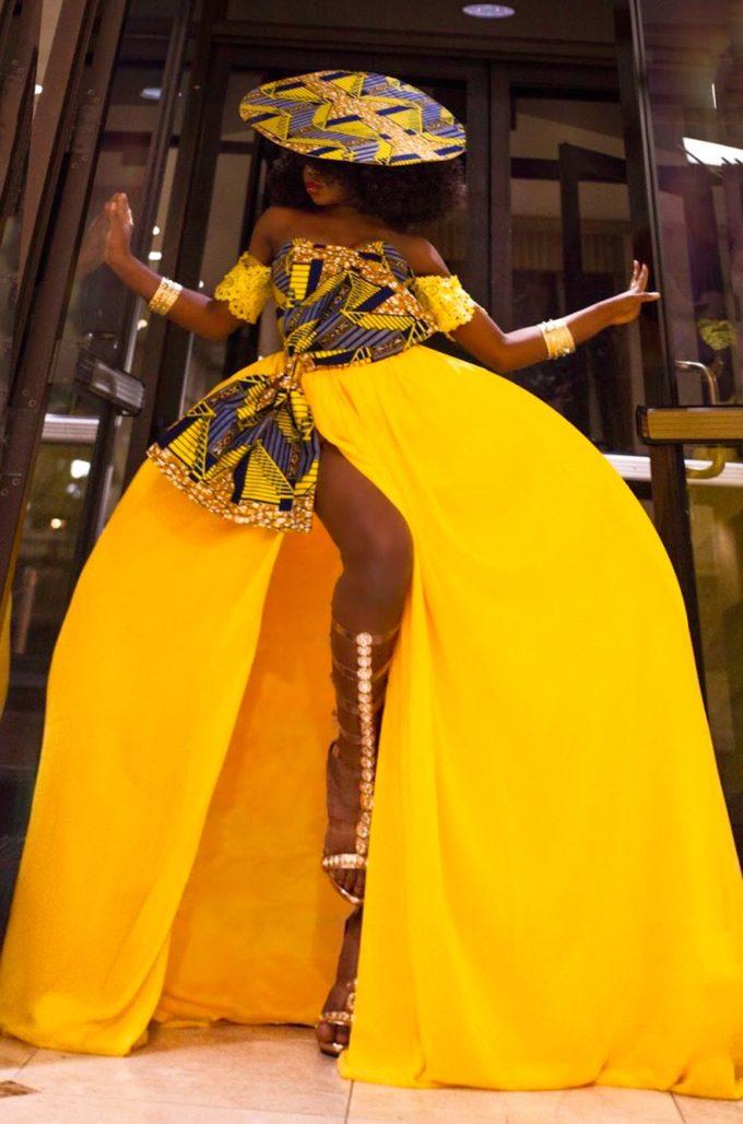 QUEEN NEKFERTITI DRESS (WOMEN'S DRESS IN YELLOW CHIFFON AND AFRICAN ANKARA PRINT PATTERN) 1