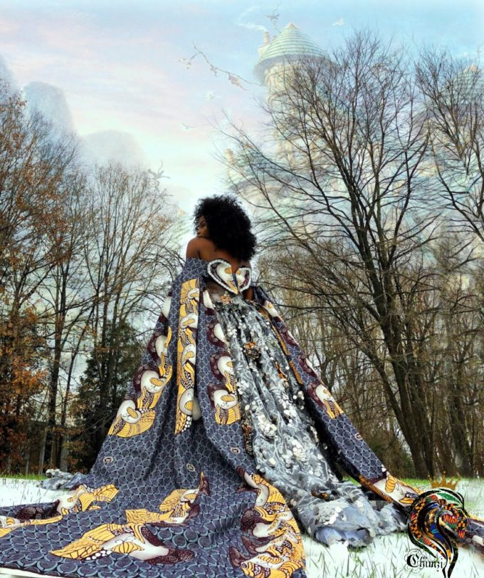 QUEEN CANDANCE (WOMEN'S BALL GOWN/DRESS IN SLIVER, GRAY AND GOLD AFRICAN ANKARA PRINT PATTERN) 5