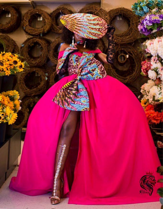 QUEEN AMINATU DRESS (WOMEN'S DRESS IN PINK CHIFFON AND AFRICAN ANKARA PRINT PATTERN) 1