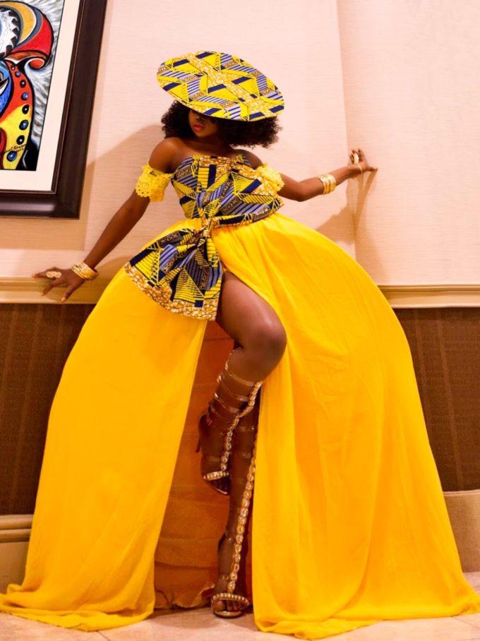 QUEEN NEKFERTITI DRESS (WOMEN'S DRESS IN YELLOW CHIFFON AND AFRICAN ANKARA PRINT PATTERN)