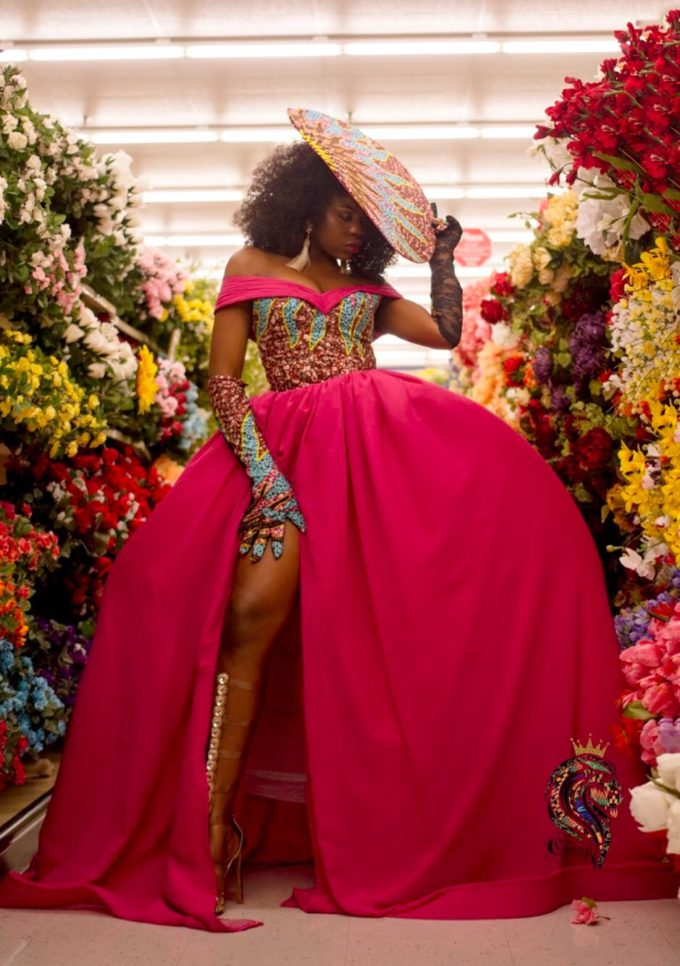 QUEEN AMINATU DRESS (WOMEN'S DRESS IN PINK CHIFFON AND AFRICAN ANKARA PRINT PATTERN) 3