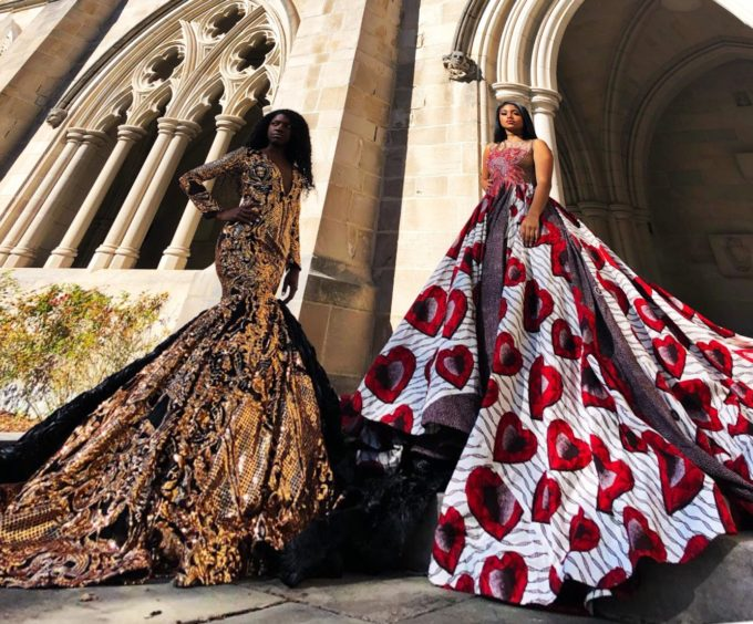 QUEEN AMINATU (WOMEN'S BALL GOWN/DRESS IN WHITE, RED HEARTS AND BROWN AFRICAN ANKARA PRINT PATTERN) 2