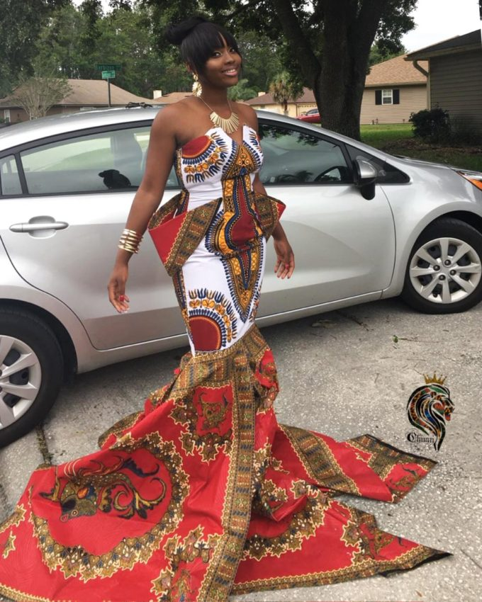 QUEEN SERENA WOMEN'S MERMAID DRESS IN WHITE AND RED AFRICAN ANKARA DASHIKI KENTE PRINT FABRIC