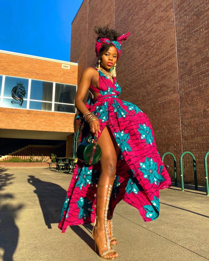 ALIA INFINITY DRESS WOMEN'S AFRICAN PRINT LONG (PINK BLUE AND WHITE ANKARA DASHIKI)