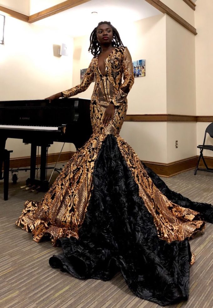 Queen Nefertiti (Women's Mermaid Dress In Gold African Lace With Black Mesh And Black Rosette Fabric)