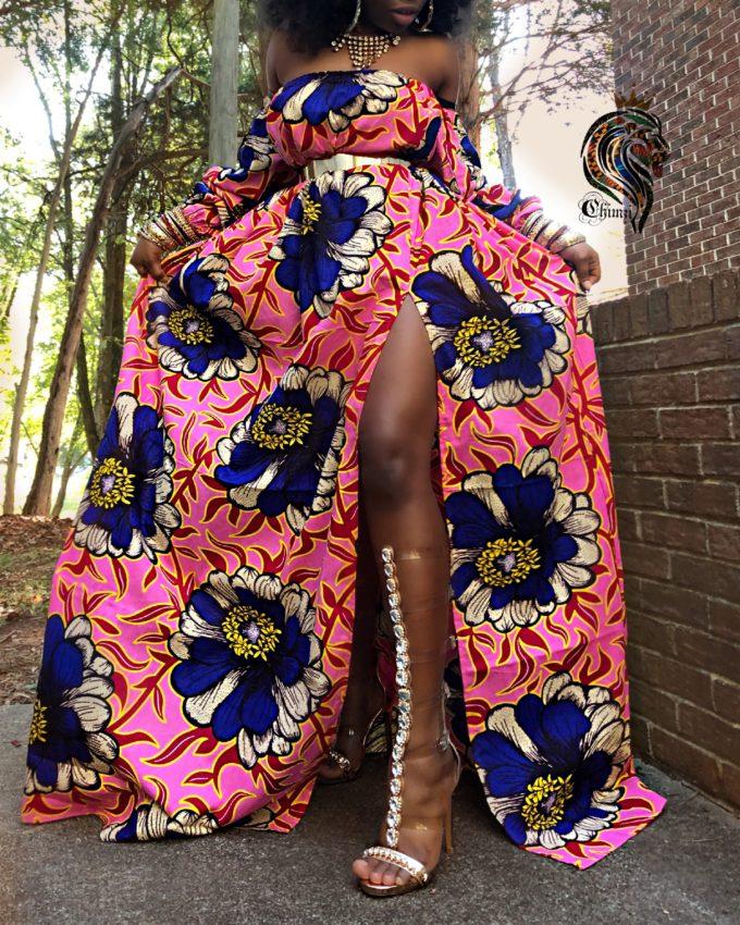 Rema Women's African Print Off-The-Shoulder Summer Long Dress (Pink And Blue Flower Ankara Dashiki)