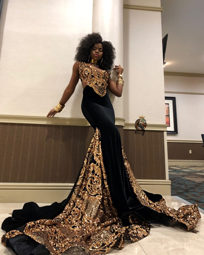 Majesty Women's Mermaid Dress In Gold African Lace With Black Velvet Fabric 4