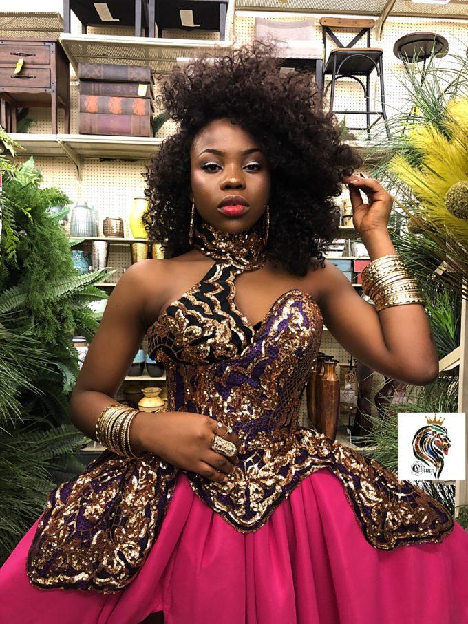 QUEEN AMINA DRESS (WOMEN'S DRESS IN PINK CHIFFON AND AFRICAN ANKARA PRINT PATTERN) 1