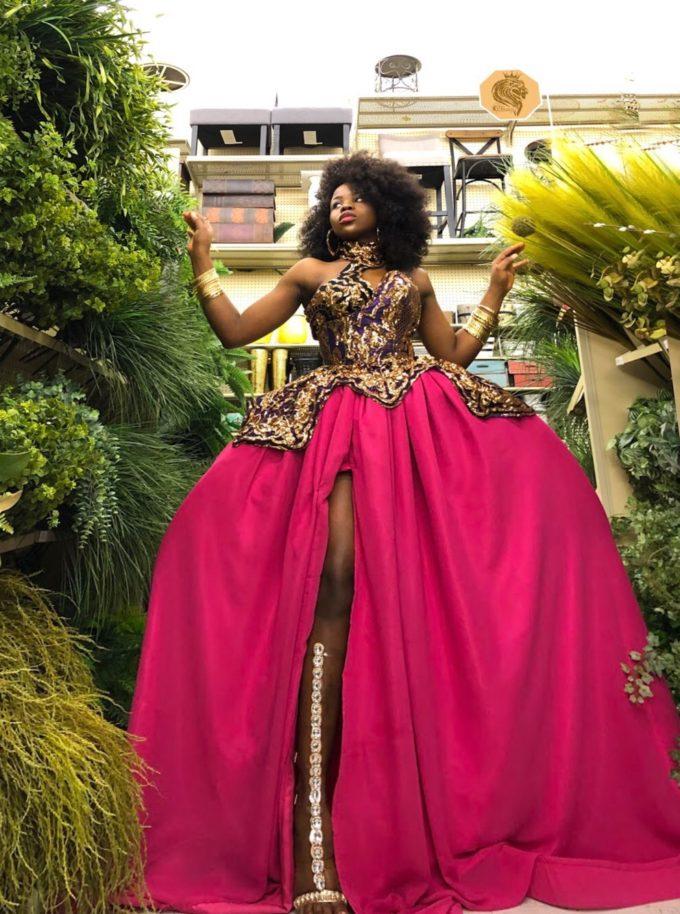 QUEEN AMINA DRESS (WOMEN'S DRESS IN PINK CHIFFON AND AFRICAN ANKARA PRINT PATTERN) 4