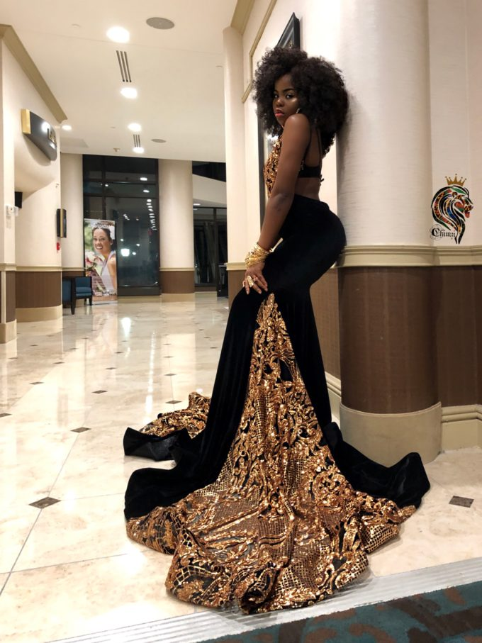 Majesty Women's Mermaid Dress In Gold African Lace With Black Velvet Fabric 3