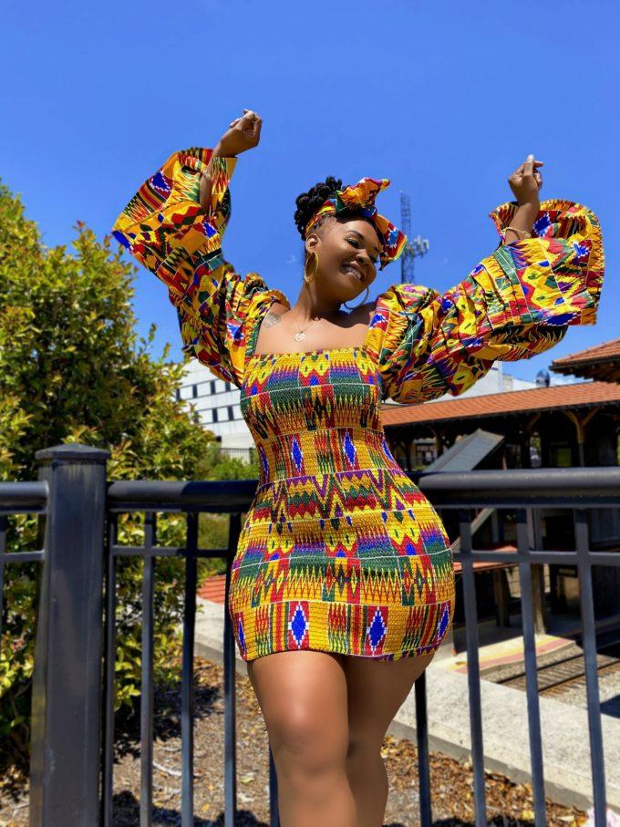 QUEEN SHEBA WOMEN'S DRESS IN AFRICAN ANKARA DASHIKI KENTE PRINT (YELLOW, BLUE, RED, GOLD, BURGUNDY MULTICOLORED FABRIC)