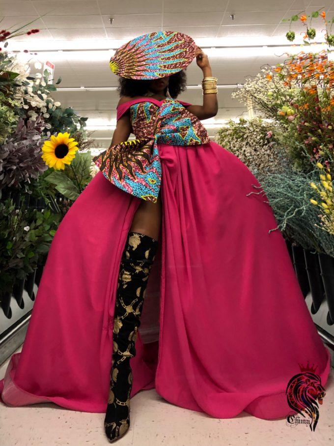QUEEN AMINATU DRESS (WOMEN'S DRESS IN PINK CHIFFON AND AFRICAN ANKARA PRINT PATTERN) 4