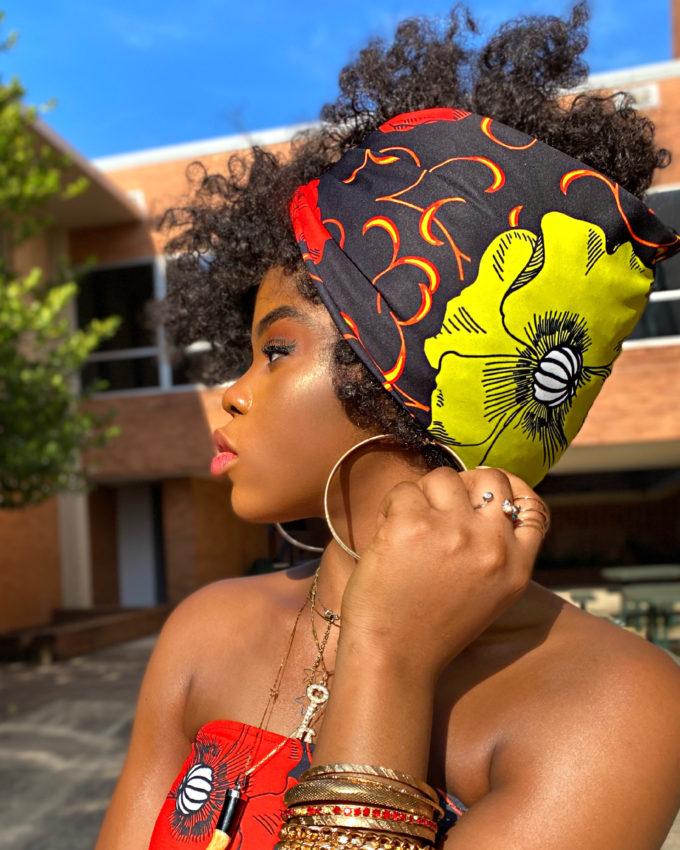 AJA HEAD-WRAP AFRICAN PRINT (YELLOW RED WHITE ANKARA DASHIKI)