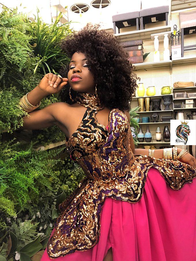 QUEEN AMINA DRESS (WOMEN'S DRESS IN PINK CHIFFON AND AFRICAN ANKARA PRINT PATTERN)