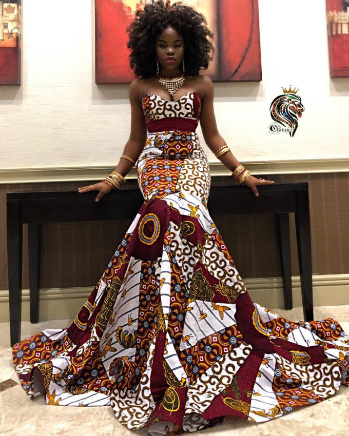 QUEEN AMAKA WOMEN'S MERMAID DRESS IN AFRICAN ANKARA DASHIKI KENTE PRINT (WHITE RED GOLD BURGUNDY MULTICOLORED FABRIC) 1