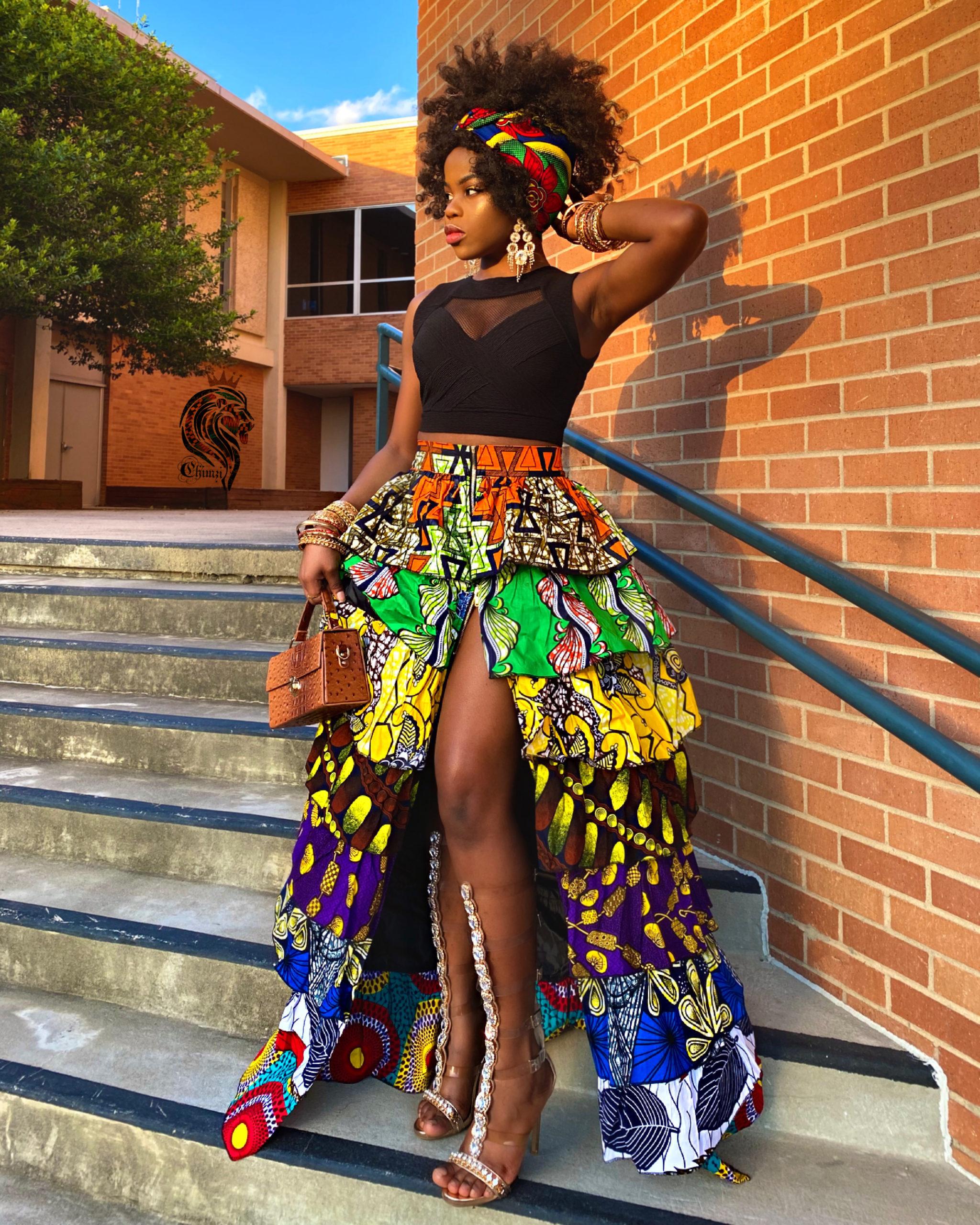 Dashki Fabric African Fashion Ankara Kitenge African: SHAKARA WOMEN'S PATCH SKIRT IN AFRICAN ANKARA DASHIKI