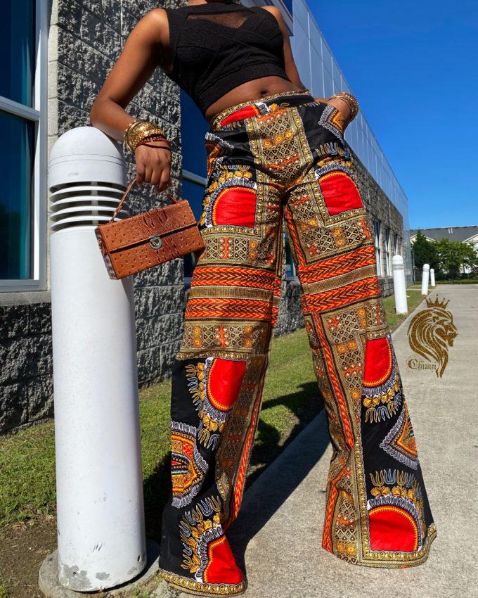 MAYA WOMEN'S PALAZZO STYLE PANTS (BLACK DASHIKI ANKARA PATTERN )