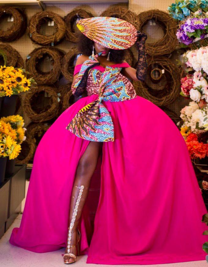 QUEEN AMINATU DRESS (WOMEN'S DRESS IN PINK CHIFFON AND AFRICAN ANKARA PRINT PATTERN) 2