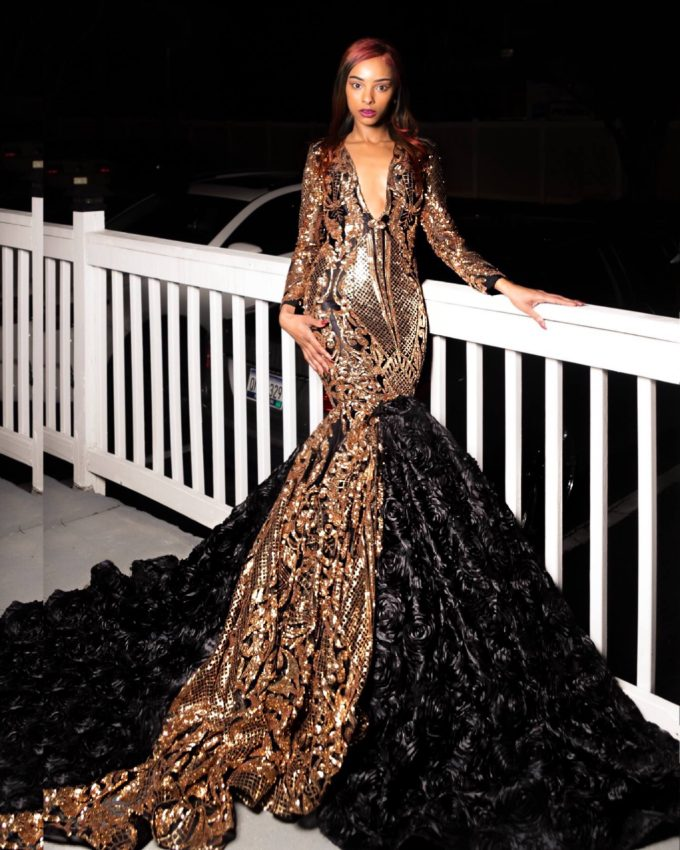QUEEN NEFERTITI (WOMEN'S MERMAID DRESS IN GOLD AFRICAN LACE WITH BLACK MESH AND BLACK ROSETTE FABRIC) 5