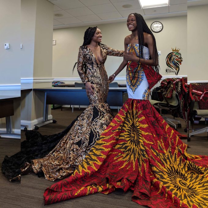 QUEEN AYO WOMEN'S MERMAID DRESS IN WHITE AND RED AFRICAN ANKARA DASHIKI KENTE PRINT FABRIC 1