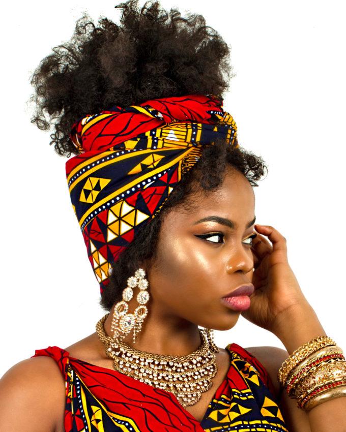 AFUA HEADWRAP WOMEN'S AFRICAN PRINT (YELLOW RED ANKARA DASHIKI)