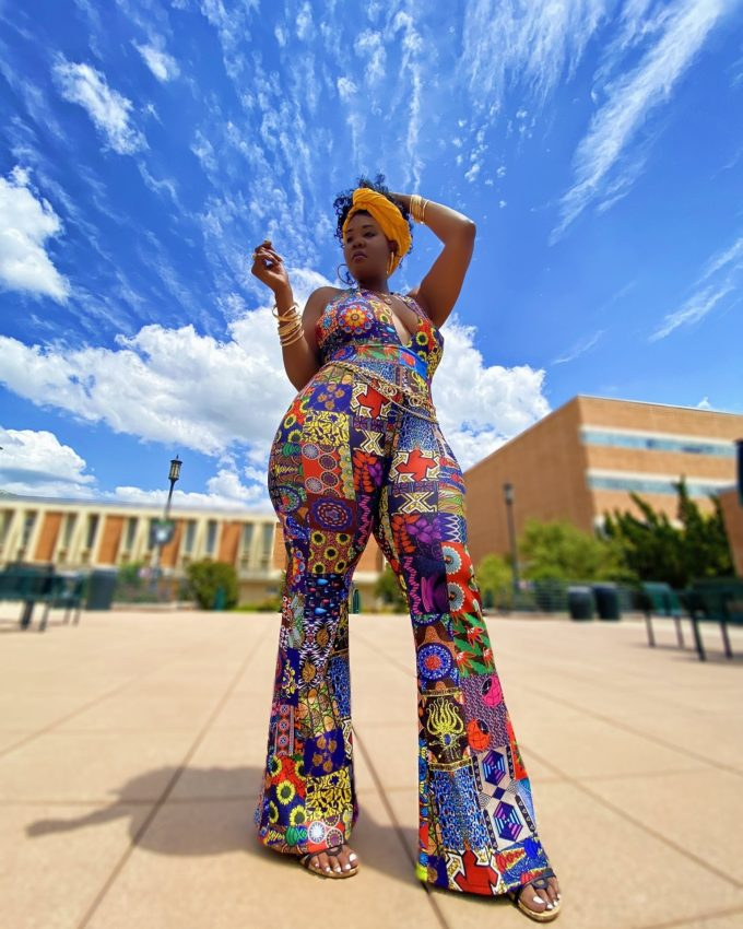 DAYO WOMEN'S STRETCHY AFRICAN PRINT JUMPSUIT (PATCH ANKARA SKIRT MULTI-PATTERN DASHIKI ) 3