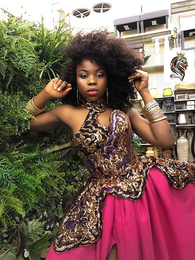 QUEEN AMINA DRESS (WOMEN'S DRESS IN PINK CHIFFON AND AFRICAN ANKARA PRINT PATTERN) 2