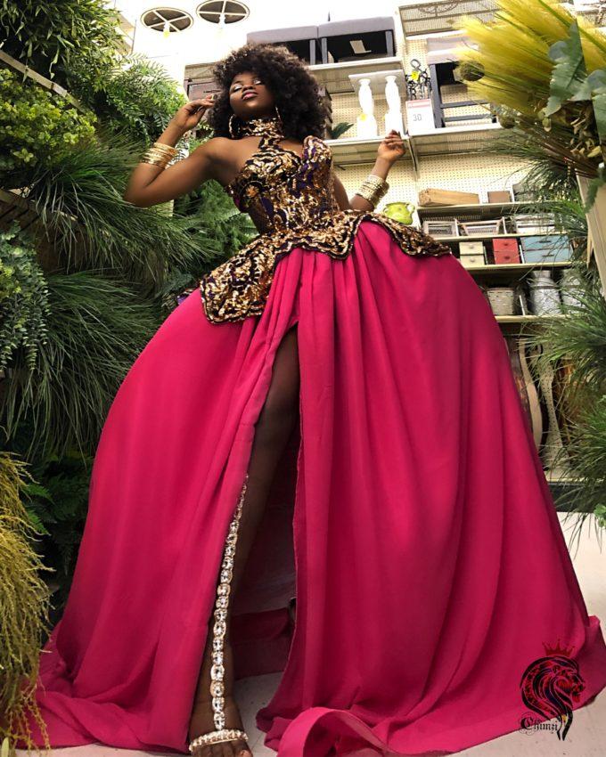 QUEEN AMINA DRESS (WOMEN'S DRESS IN PINK CHIFFON AND AFRICAN ANKARA PRINT PATTERN) 3