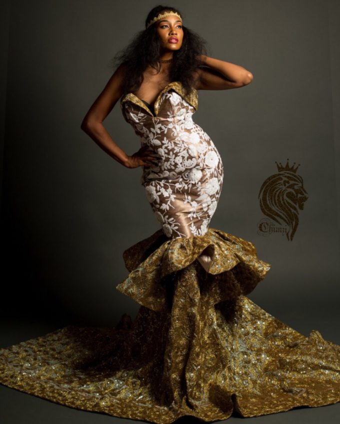 Queen Nandi (Women's Mermaid Dress In White African Lace And Gold Rosette Fabric )