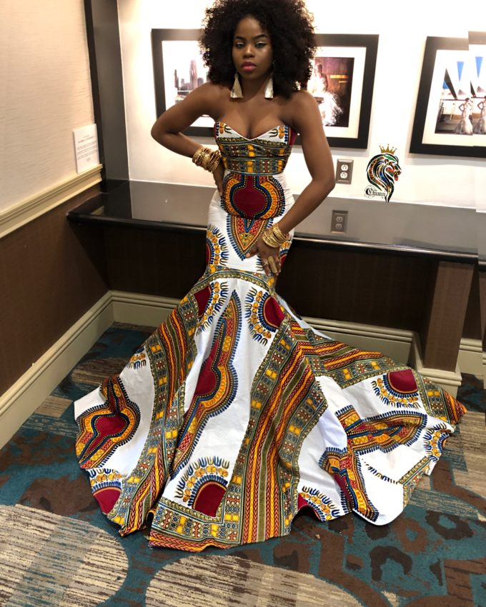 QUEEN ORIAKU WOMEN'S MERMAID DRESS IN AFRICAN ANKARA DASHIKI KENTE PRINT (WHITE RED GOLD BURGUNDY MULTICOLORED FABRIC) 2