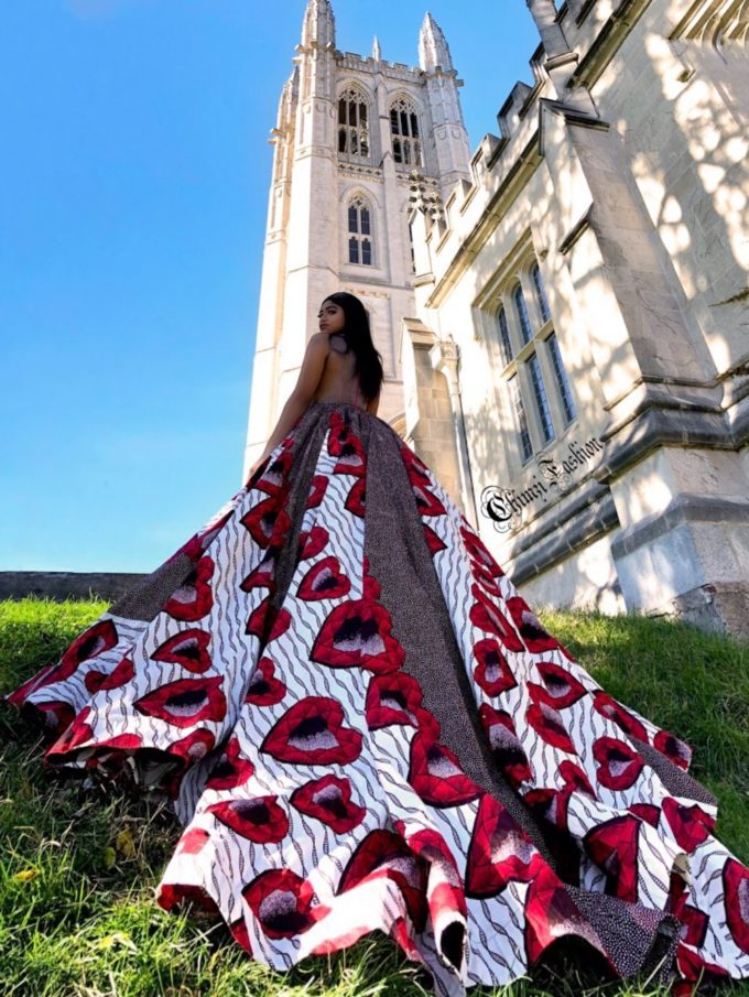 QUEEN AMINATU (WOMEN'S BALL GOWN/DRESS IN WHITE, RED HEARTS AND BROWN AFRICAN ANKARA PRINT PATTERN) 1