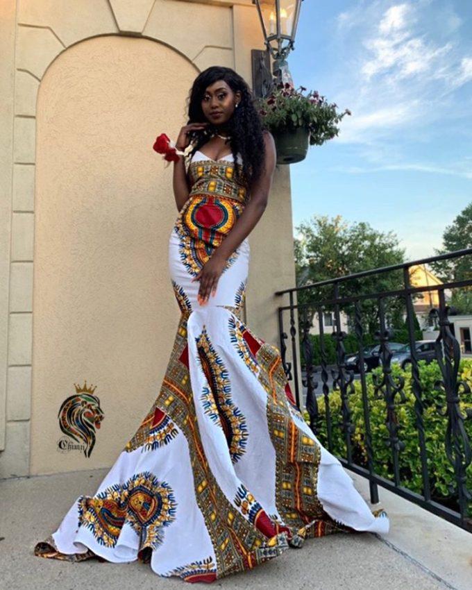 QUEEN ORIAKU WOMEN'S MERMAID DRESS IN AFRICAN ANKARA DASHIKI KENTE PRINT (WHITE RED GOLD BURGUNDY MULTICOLORED FABRIC) 3
