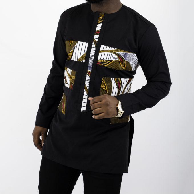 THEMBA MEN'S AFRICAN PRINT TRADITIONAL SHIRT DRESS (BROWN ANKARA FABRIC ) BLACK