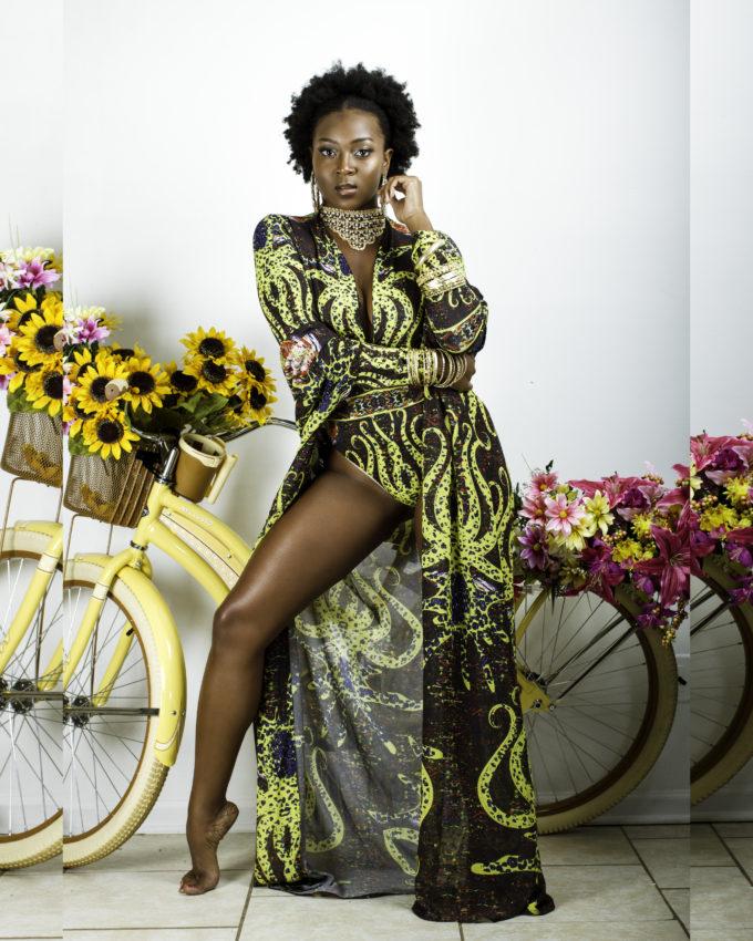 ADJOA WOMEN'S AFRICAN PRINT KIMONO COVER-UP (YELLOW OCTOPUS ANKARA)