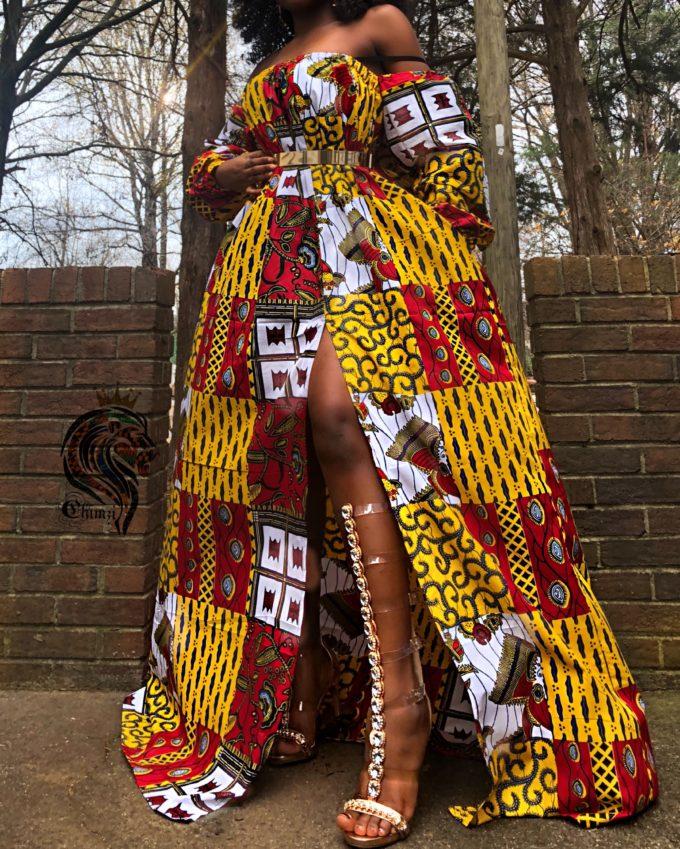 Rema Kente African Ankara Off-Shoulder Summer Long Dress