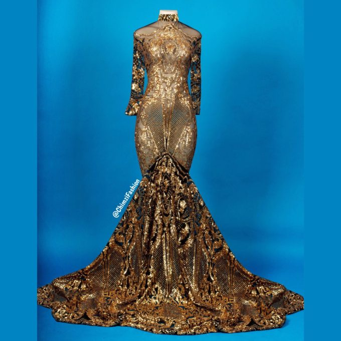Queen Nefertiti (Women's Mermaid Dress In Gold African Lace With Black Mesh)