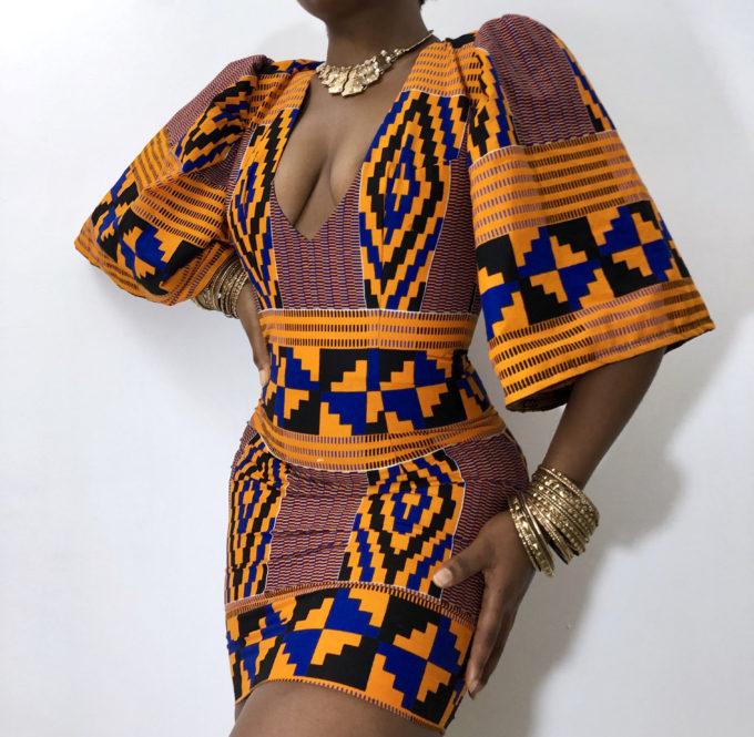 ZAS KENTE PRINT DRESS (STRETCHY AFRICAN PRINT PATTERN)