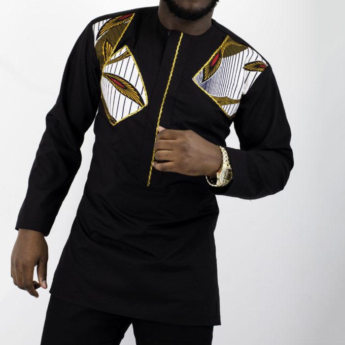 FEMI MEN'S AFRICAN PRINT TRADITIONAL SHIRT DRESS (WHITE ANKARA FABRIC ) BLACK