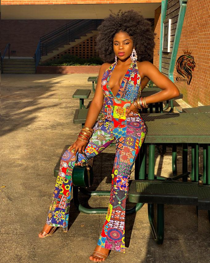 DAYO WOMEN'S STRETCHY AFRICAN PRINT JUMPSUIT (PATCH ANKARA SKIRT MULTI-PATTERN DASHIKI )