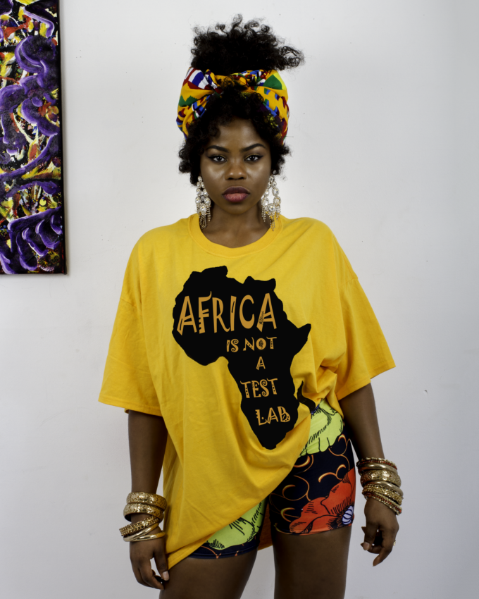 AFRICA IS NOT A TEST LAB Yellow t-shirt